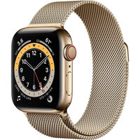 Apple Watch Series 6 LTE 44mm Gold Stainless Steel Case with Gold Milanese Loop (M07P3)