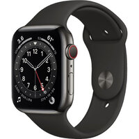 Apple Watch Series 6 LTE 44mm Graphite Stainless Steel Case with Black Sport Band (M07Q3)