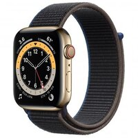 Apple Watch Series 6 LTE 44mm Gold Stainless Steel Case with Charcoal Sport Loop (M0GD3)