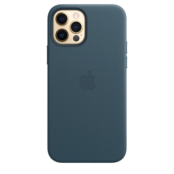 Чехол-накладка для iPhone 12/12 Pro - Apple Leather Case with MagSafe - Baltic Blue (MHKE3)