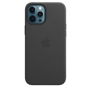 Чехол-накладка для iPhone 12 Pro Max - Apple Leather Case with MagSafe - Black (MHKM3)