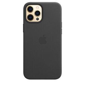 Чехол-накладка для iPhone 12 Pro Max - Apple Leather Case with MagSafe - Black (MHKM3) - фото 1