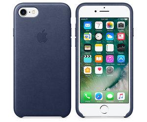 Чехол-накладка для iPhone 7/8/SE - Apple Leather Case - Midnight Blue (MMY32) - фото 4