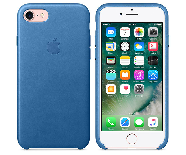 Чехол-накладка для iPhone 7/8/SE - Apple Leather Case - Sea Blue (MMY42)