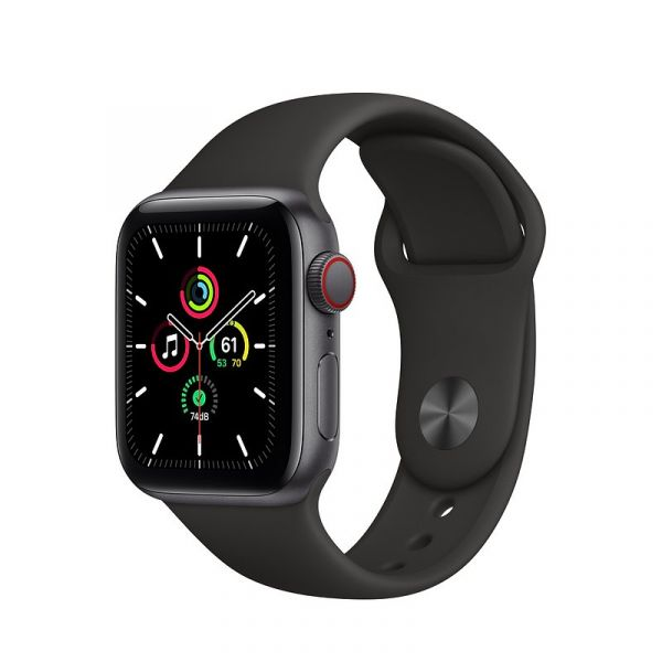 Apple Watch SE LTE 40mm Space Gray Aluminum Case with Black Sport Band (MYED2 / MYEK2)