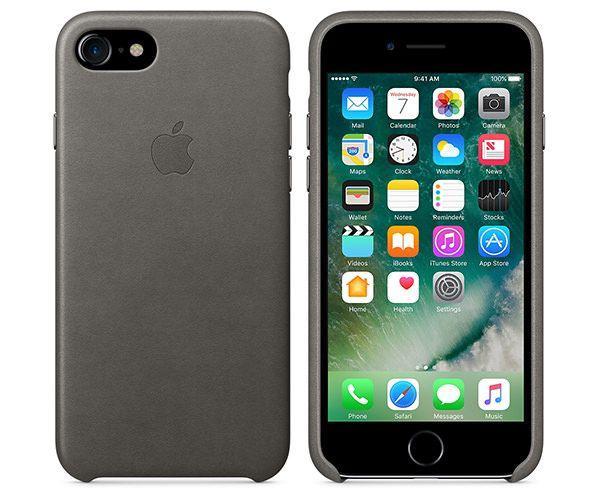 Чехол-накладка для iPhone 7/8/SE - Apple Leather Case - Storm Gray (MMY12)