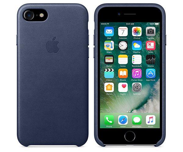 Чехол-накладка для iPhone 7/8/SE - Apple Leather Case - Midnight Blue (MMY32)