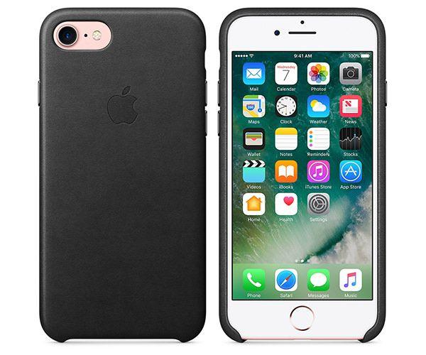 Чехол-накладка для iPhone 7/8/SE - Apple Leather Case - Black (MMY52)