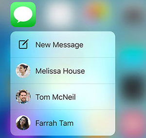 контекстное меню Messages на iPhone 6s